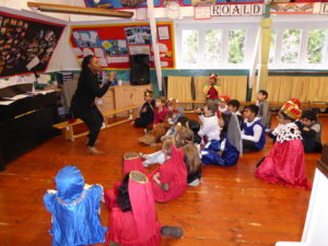 Rebbecca leads a workshop on Hamlet in school